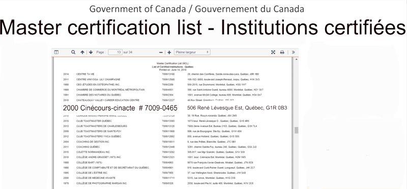 extrait certification gouvernementale pour cinecours