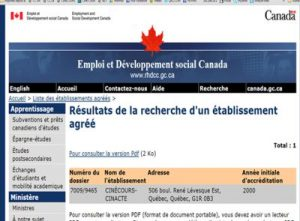 accréditation gouvernement du Canada pour Cinécours